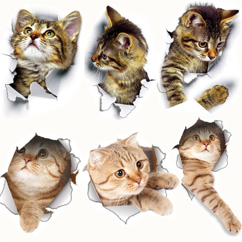 3d cat wall stickers for kids room art decor toilet living on wall stickers for kids id=16552