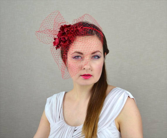 Red Flower Fascinator with Birdcage Veil - Red Fascinator - Red Wedding - Red  Headpiece - Red Headba 8cb7fb203f8