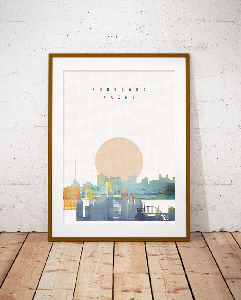 Portland Maine Skyline Art Print Poster Modern Wall Art New Etsy In 2020 Posters Art Prints Skyline Art Art Prints