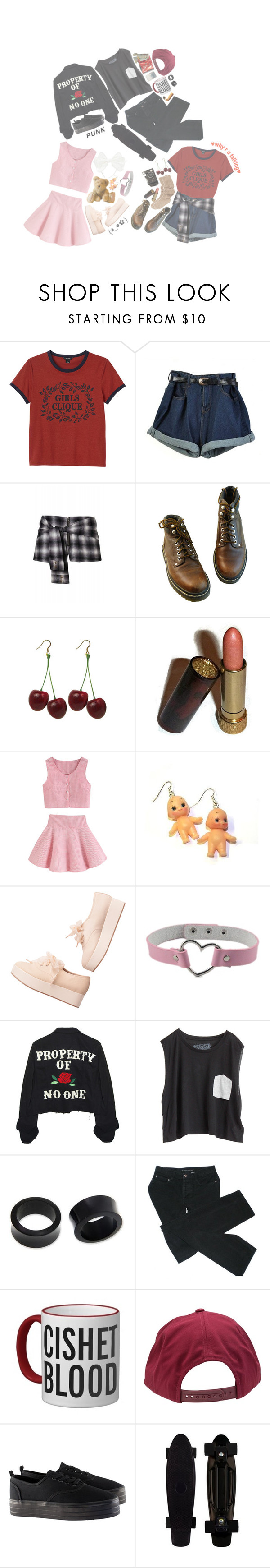 """""""♡ poly crew ♡"""" by cottoncandyprince ❤ liked on Polyvore featuring Monki, Avon, Hannah Makes Things, High Heels Suicide, Blondes Make Better T-Shirts, NOVICA, Marc by Marc Jacobs, Ugo Cacciatori, Brixton and H&M"""