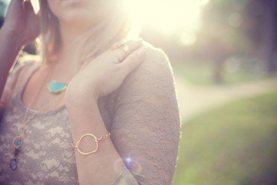 Gold Bracelet  Organic by SashaGems on Etsy, $39.00