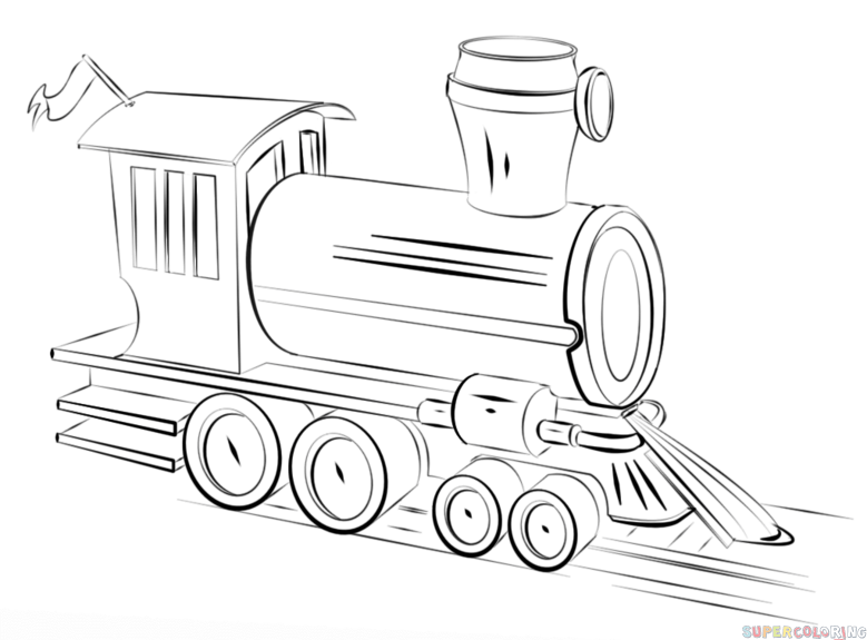 How to draw a steam train step by step. Drawing tutorials
