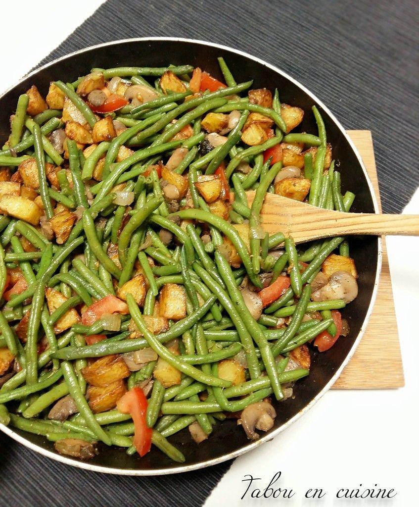Poêlée de pommes de terre, champignons et haricots verts #recettesdecuisine