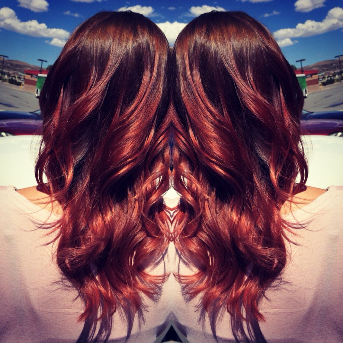 Beautiful deep brown roots with a beautiful red ombré