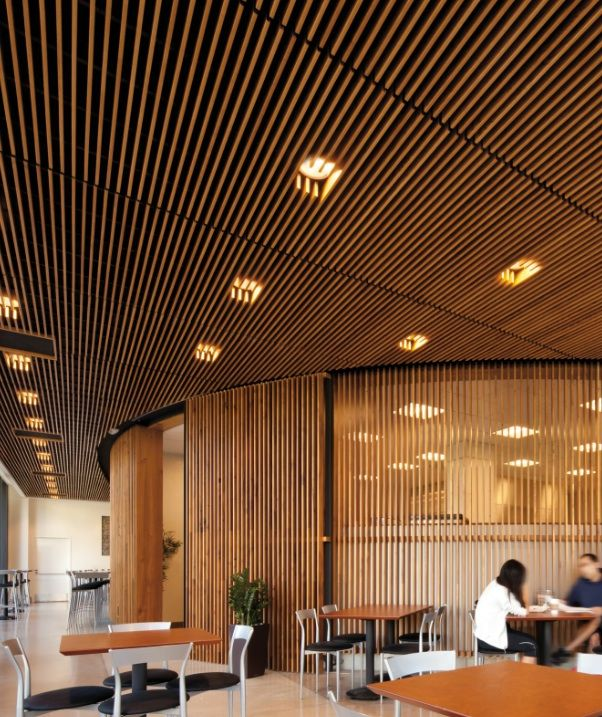 Edge Wood Ceiling Structure Filtering Ceiling Above With Can
