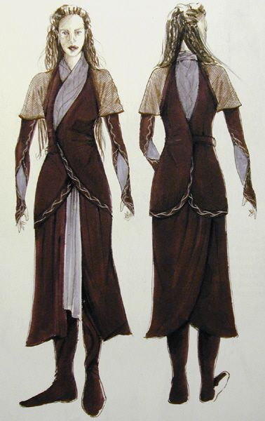 "Early concept art for Arwen's Chase Costume from ""Lord of the Rings: The Fellowship of the Ring"" (2001)."