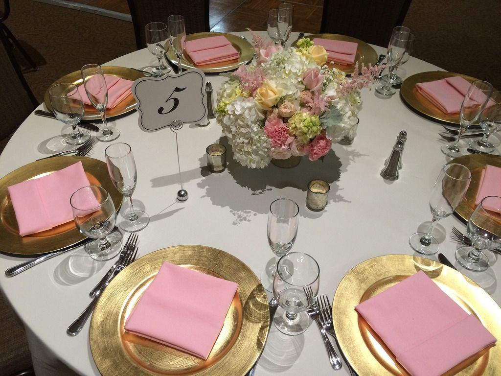 Pink Blush | Gold chargers, Chair covers and Hydrangea