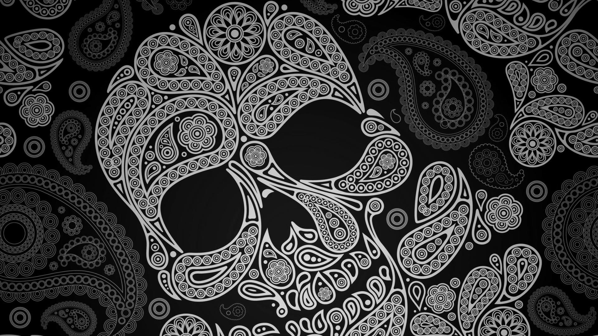 Paisley Skull Pattern Paisley Skull Pattern 1080p Wallpaper Hdwallpaper Desktop In 2020 Skull Wallpaper Sugar Skull Wallpaper Black Skulls Wallpaper