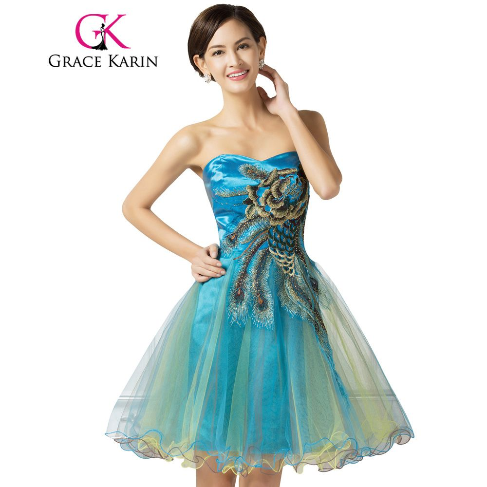 Grace karin short prom dress peacock cheap beading embroidery tulle