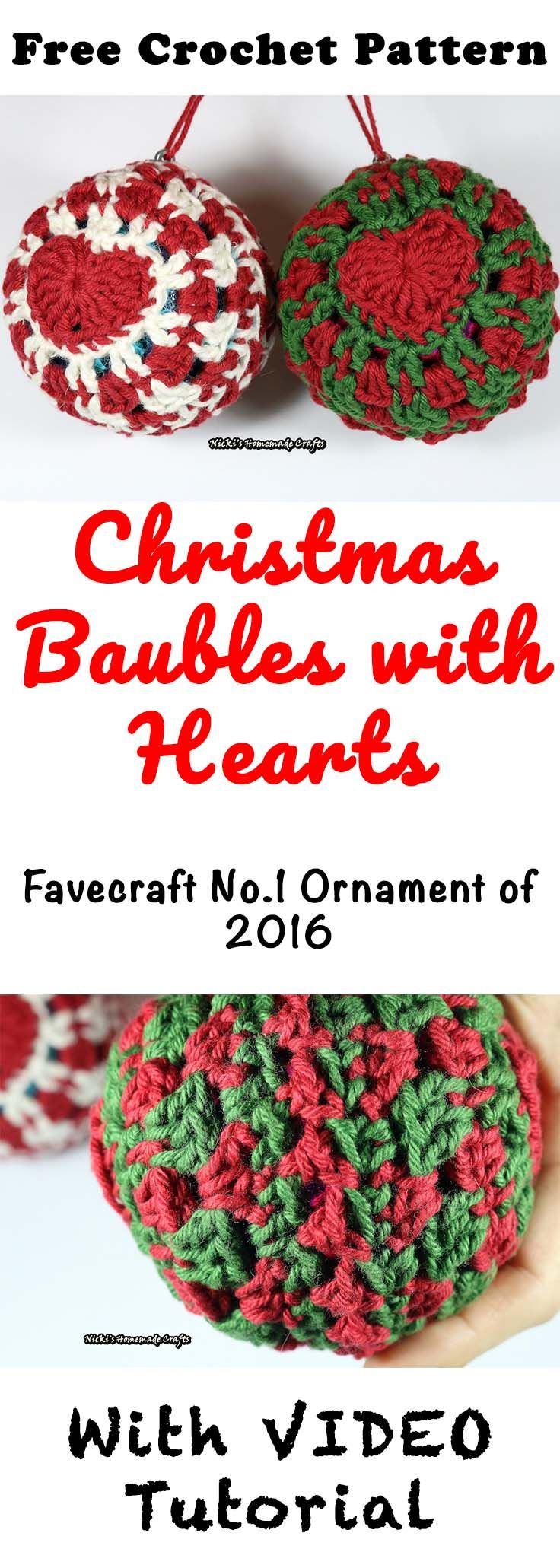 Christmas Baubles with Heart - Free Crochet Pattern by Nicki\'s ...