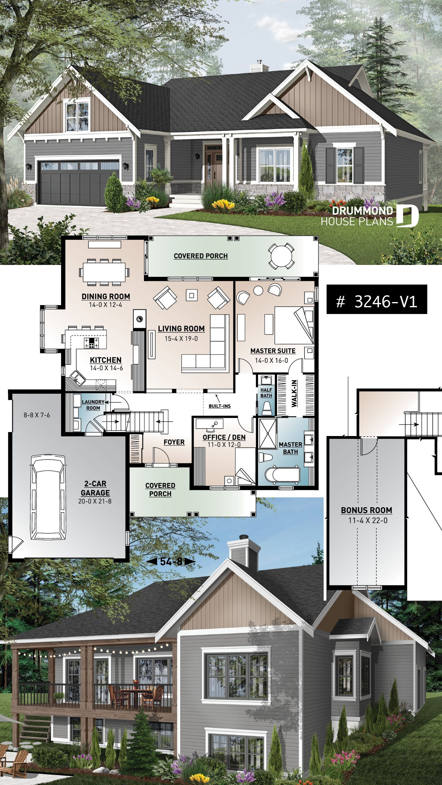 Discover The Plan 3246 V1 Aldergrove Which Will Please You For Its 5 4 Bedrooms And For Its Country Styles Craftsman House Plans House Plans Farmhouse Bungalow House Plans