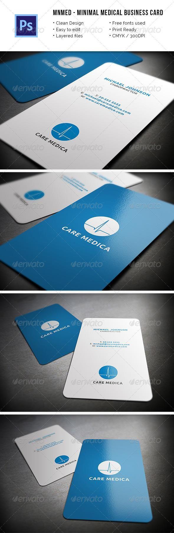 MnMed - Minimal Medical Business Card   Business card design ...
