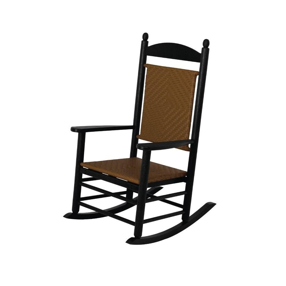 POLYWOOD Jefferson Black Woven Patio Rocker with Tigerwood Weave