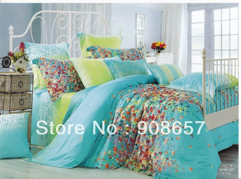 500tc flowe print green turquoise print discount cotton bed linen cheap bedding set duvet covers Queen size bed and mattress set