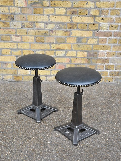 Original Cast Iron Stool Bases With New Leather Stud Tops Swivel