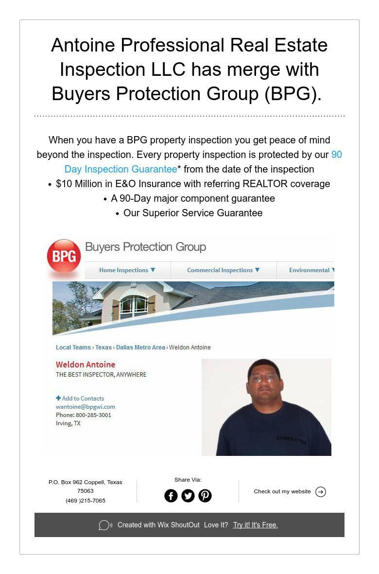 Antoine Professional Real Estate Inspection LLC has merge