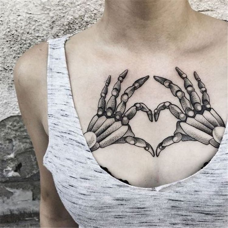 45 Creative Chest Tattoo Designs You Will Love To Try Page 9 Of 45 Chest Tattoos For Women Hand Tattoos For Women Shape Tattoo