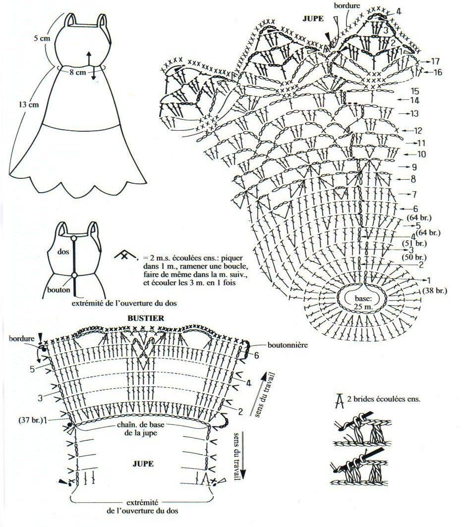 платье для барби , связанное крючком | Barbie 4 | Pinterest ...