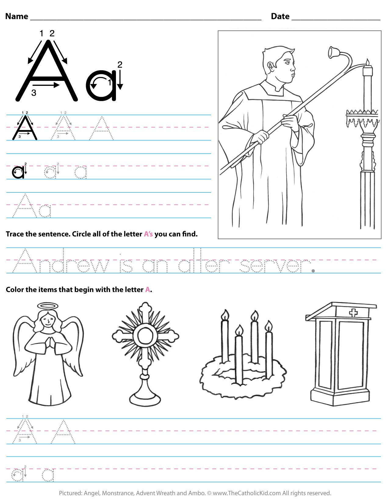 Catholic Alphabet Letter A Worksheet Preschool Kindergarten -  TheCatholicKid.com   Preschool worksheets [ 1650 x 1275 Pixel ]