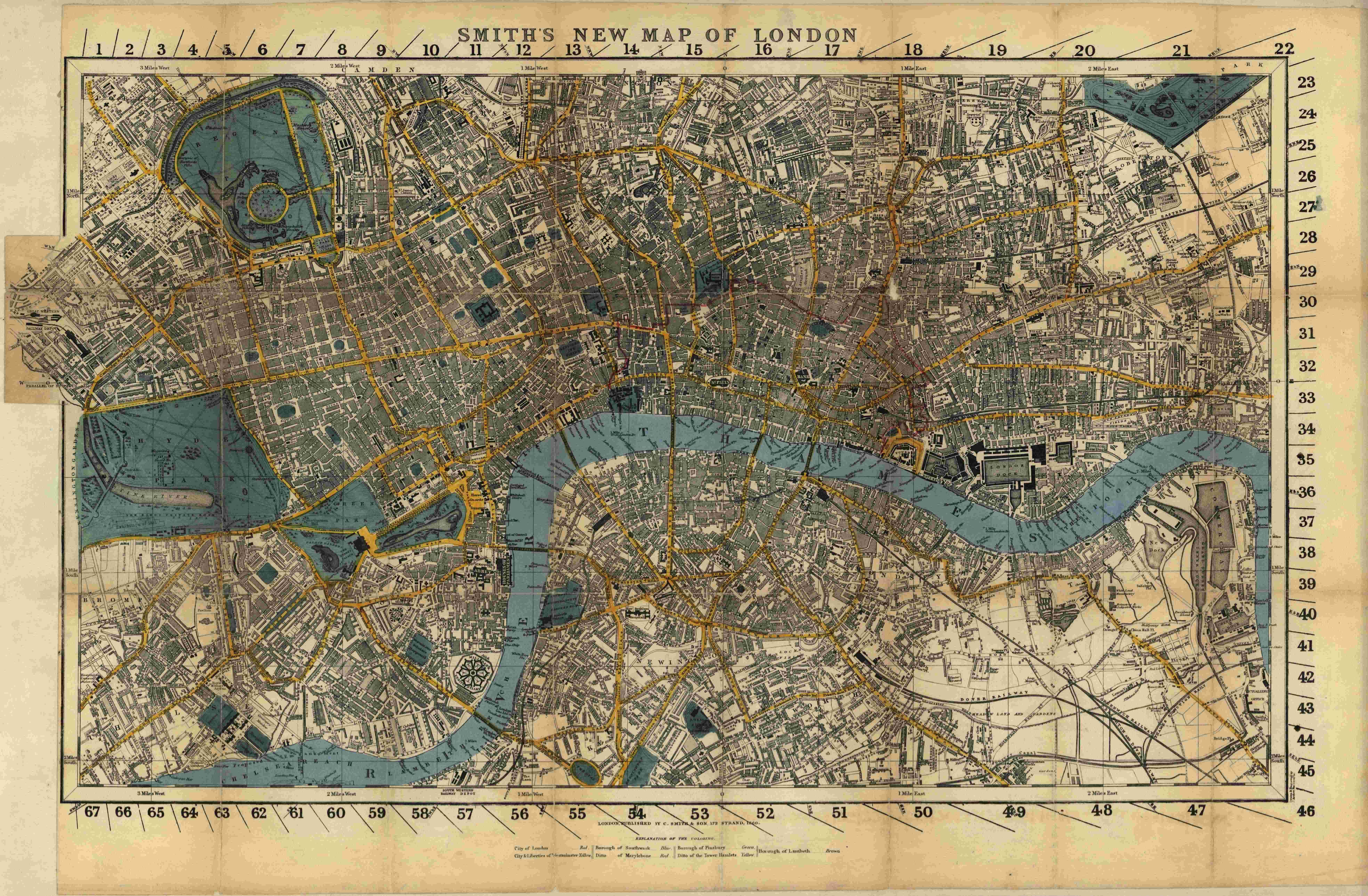 Antique Map of London England 1860 Archival