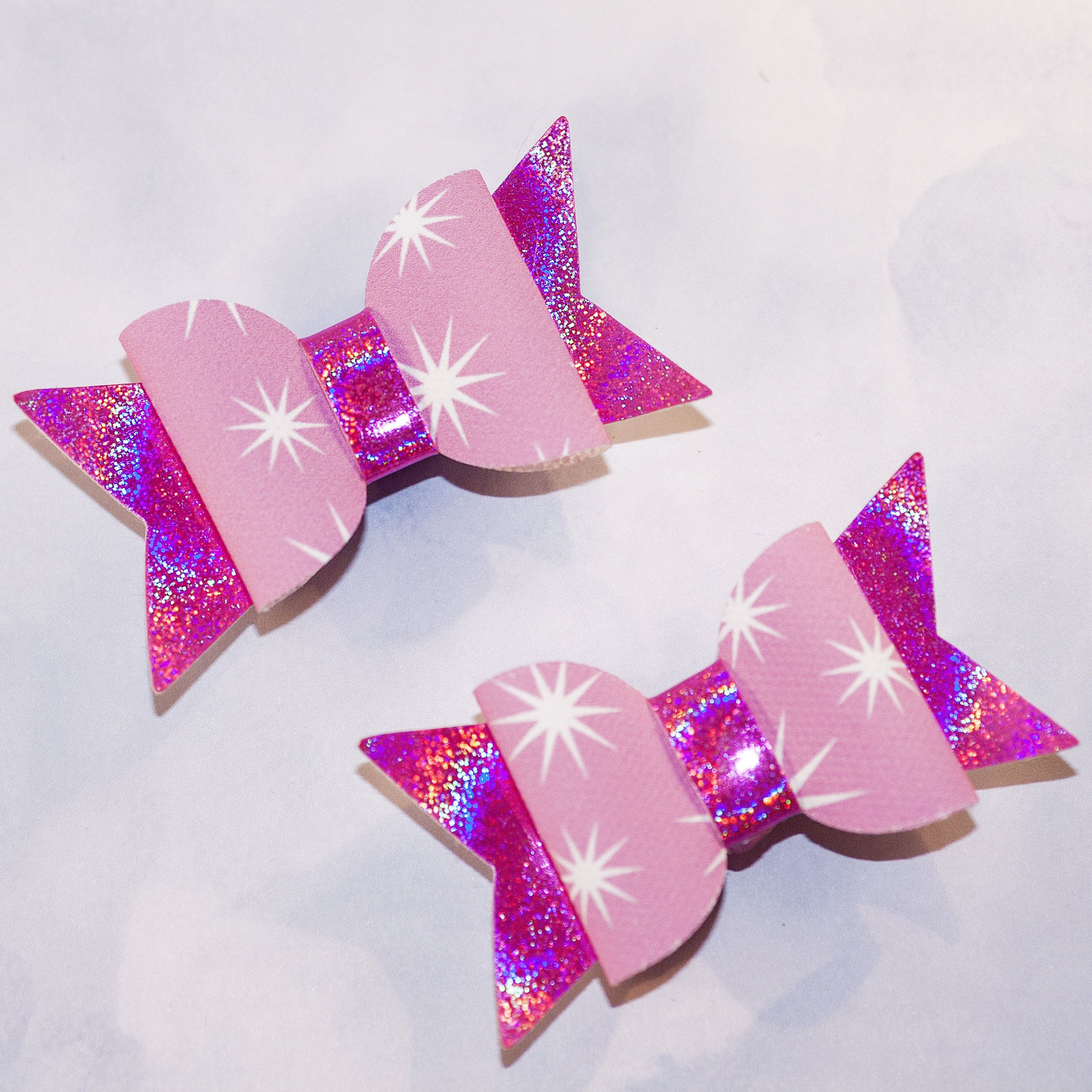 """Pink Glitter 2.5/"""" Pigtails Fringe Clip Hair Bow Clip Baby Toddler"""