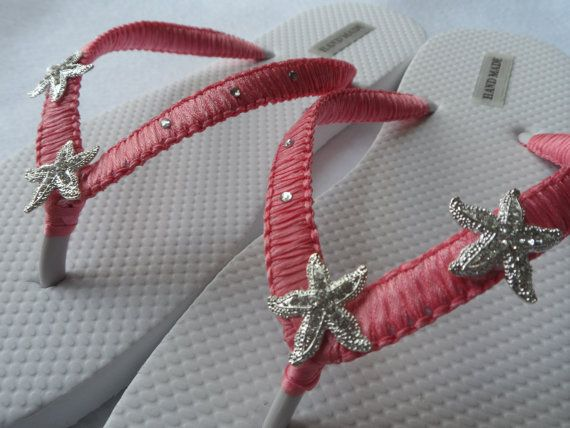 78fe86d452bd Starfish Bridal Flip Flops   Coral Wedding Flip Flops   Rhinestones Flip  Flops   Bridesmaids Sandals