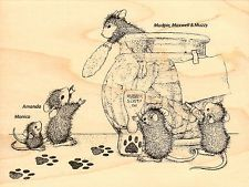 Cookie Bandits HOUSE MOUSE Wood Mounted Rubber Stamp STAMPENDOUS, NEW - HMR21