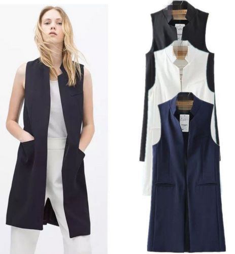 Spring Brief Stand Collar Female Vest Black Slim Long Waistcoat White Women s  Vests Sleeveless Cardigan Jacket Without Sleeves 53f9e84fe