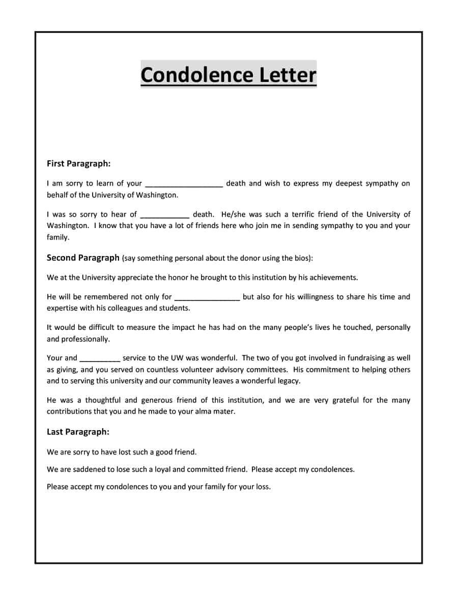 10 Condolence Letter Templates Sympathy Letter Condolence