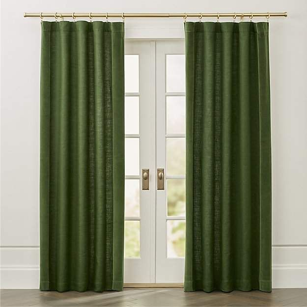 Ezria Green Linen Curtain Panel #hangs#rod#lined