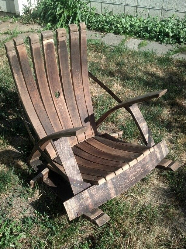 Wine barrel stave rocking chair. Total success and