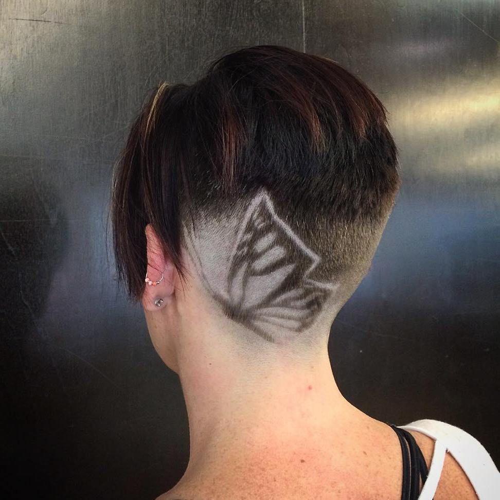 shaved butterfly design for short hair - Muster In Haare Rasieren