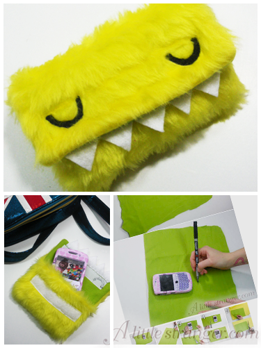 Fuzzy monster cell phone case tutorial! I want it.