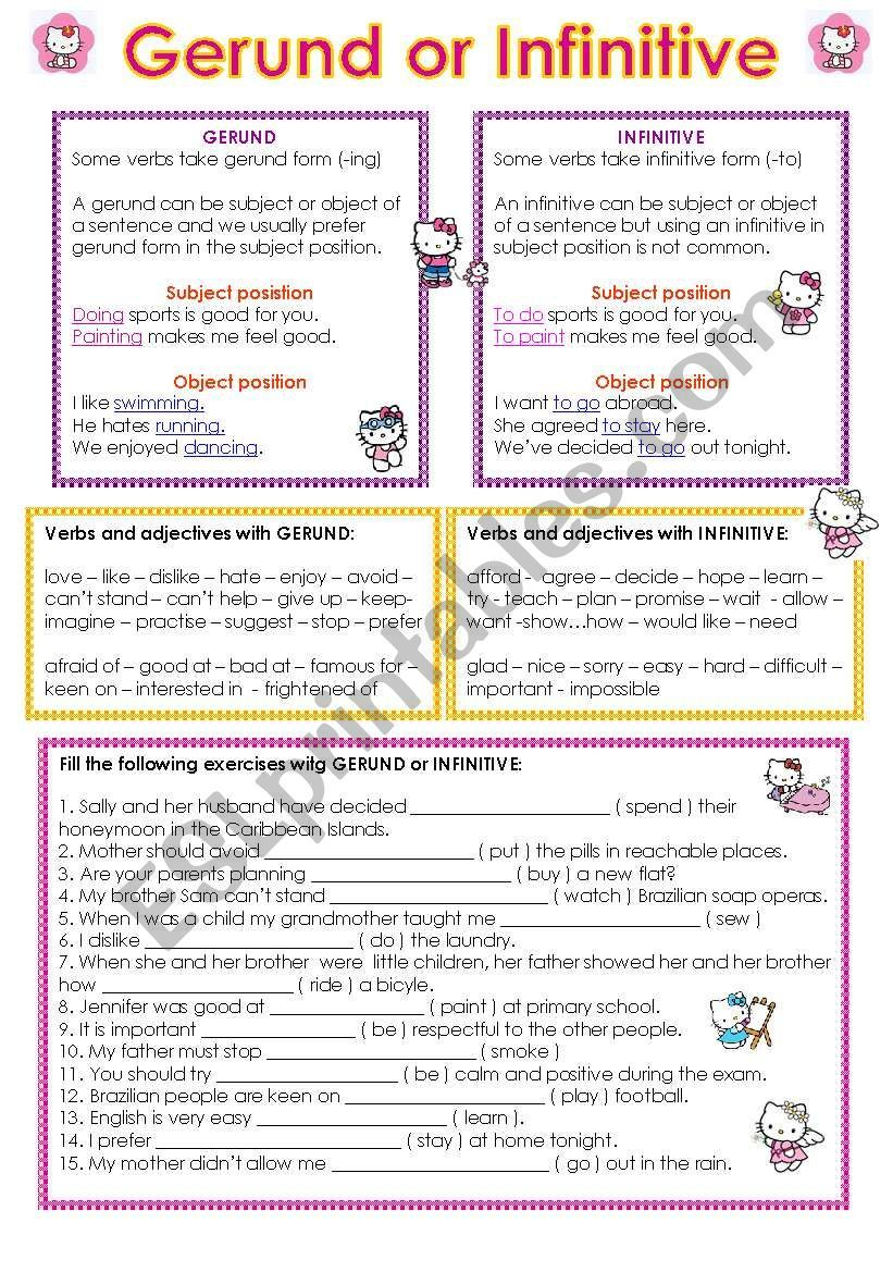 Gerund And Infinitive Worksheet Gerund Phrases Grammar Worksheets Learn English Words