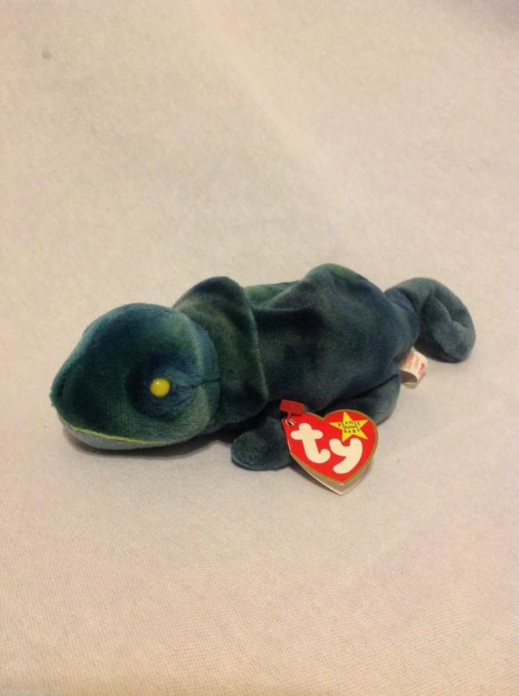 41db0f64ea3 Retired TY Beanie Babies 1997 Iggy Iguana with Error Rainbow Tush and Hang  Tags  Ty