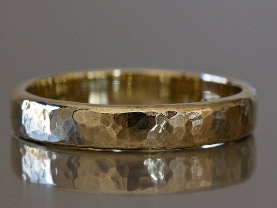 Hammered Gold Ring Mens Hammered Wedding Ring Rustic Wedding Etsy Mens Hammered Wedding Rings Hammered Wedding Rings Rustic Wedding Rings
