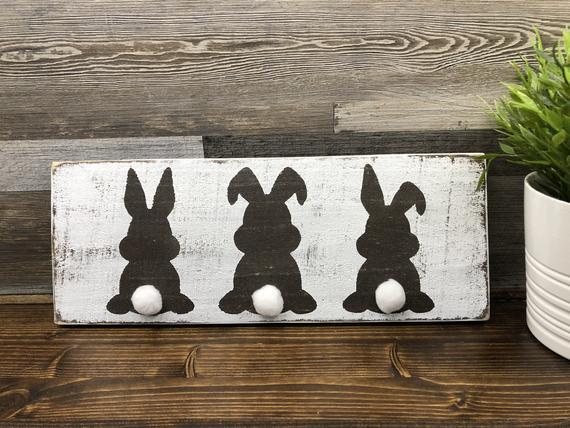 #happy Easter design Happy Easter Sign • Farmhouse Easter Rabbit Sign • Rustic Easter Decor • Easter Rabbit Decor • Adult Easter Basket Filler • Gift under 20