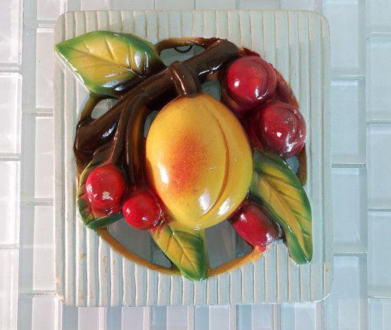 Vintage Chalkware Fruit Cherries Peach by VintageAndOddities, $30.00