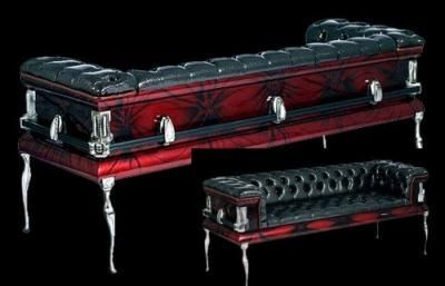 Photo of The Vampire Database – Red Black Coffin Couch – Vampire Rave.