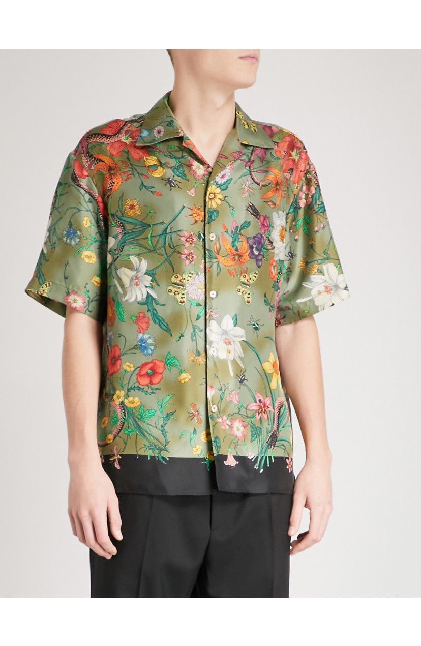 c64112ac4 Gucci Allover Panther Print Silk Camp Shirt in 2019 | Products | Mens tops, Panther  print, Shirts