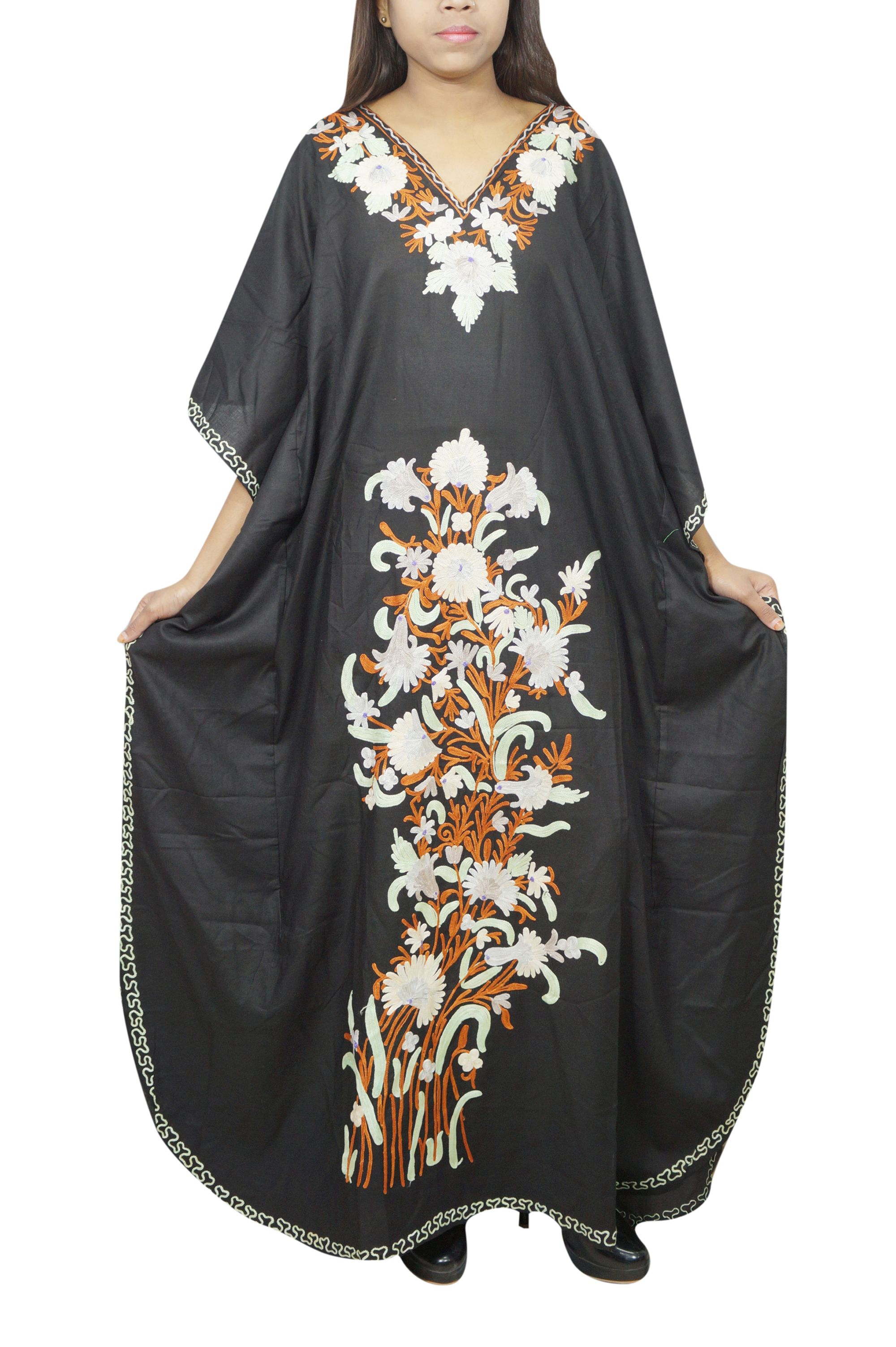 Mogul Interior Mogul Women S Cotton Blend Maxi Caftan Black Floral Embroidered V Neck Kimono Sleeves House Colorful Maxi Dress Caftan Dress Long Kaftan Dress [ 3004 x 2000 Pixel ]