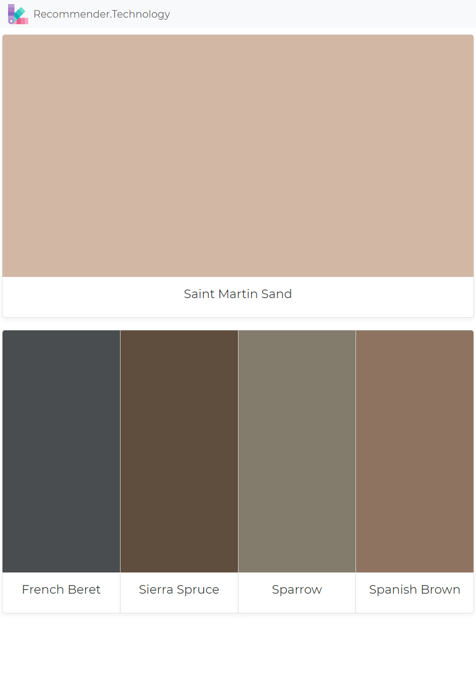 Saint Martin Sand French Beret Sierra Spruce Sparrow Spanish Brown Paint Color