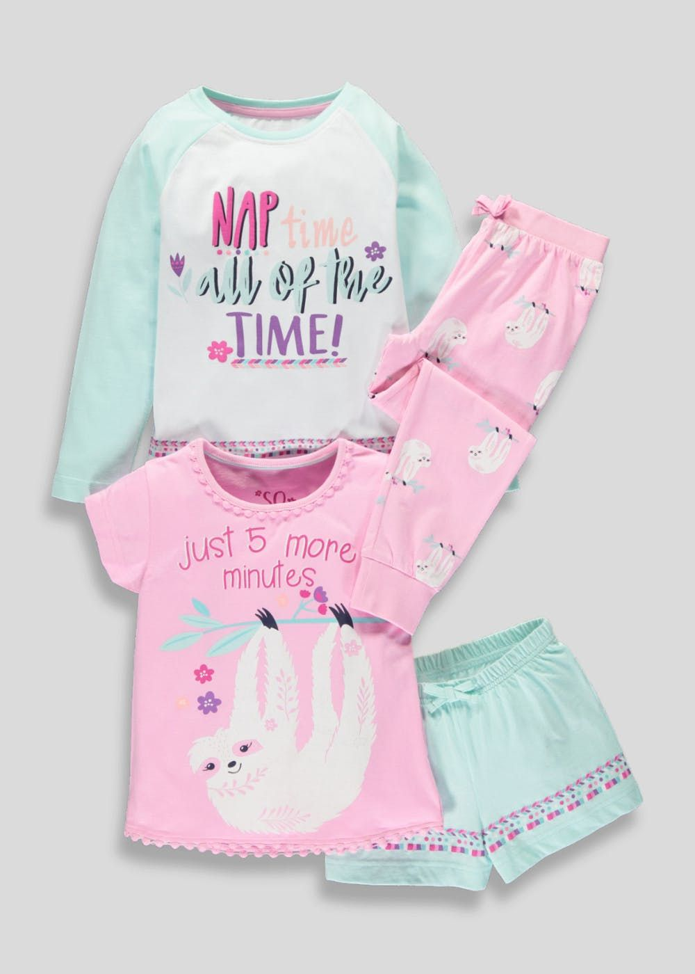 save up to 80% shoes for cheap pretty and colorful Girls 2 Pack Sloth Pyjamas (4-13yrs) – Multi | PIJAMAS BEBAS ...