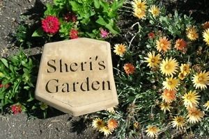 Sheri's Garden StoneI use a hot wire machine to cut letters out of styrofoam, glue the letters to the bottom of the form used (in a mirror image) then pour the concrete mixture into the forms. After setting 24-48 hours, my stepping stone is ready.