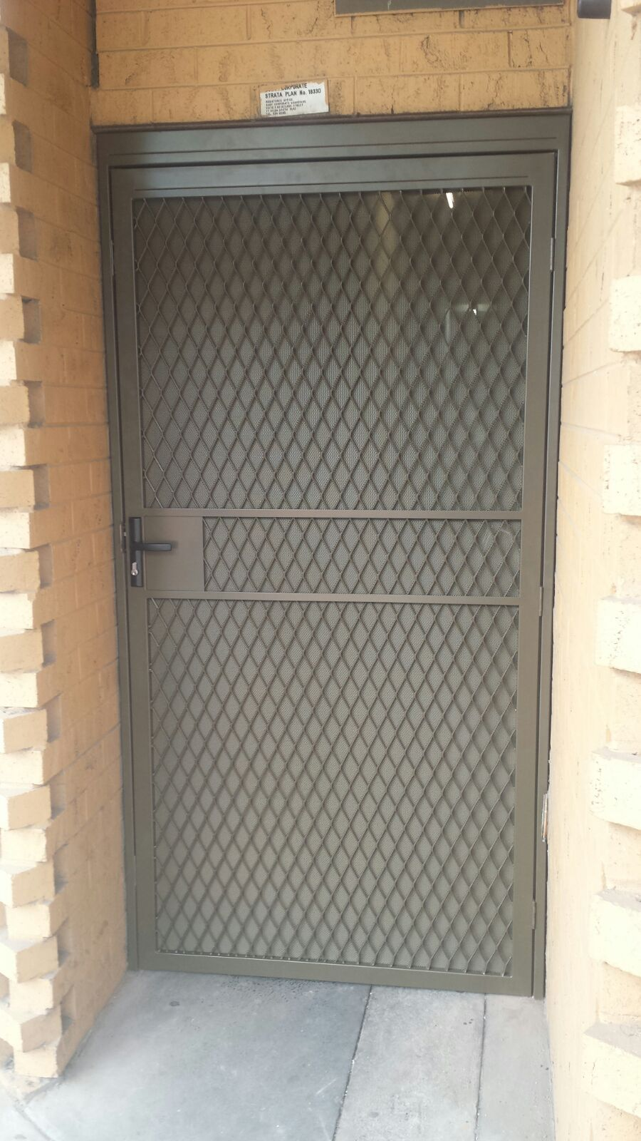 Steel Securitydoor With One Way Vision Mesh Installed In Clayton Metal Screen Doors Steel Door Design Grill Door Design