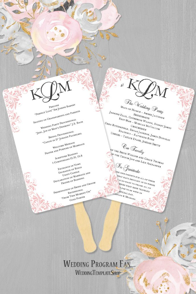 Wedding Program Fan Kaitlyn Blush Pink W Charcoal Gray Text