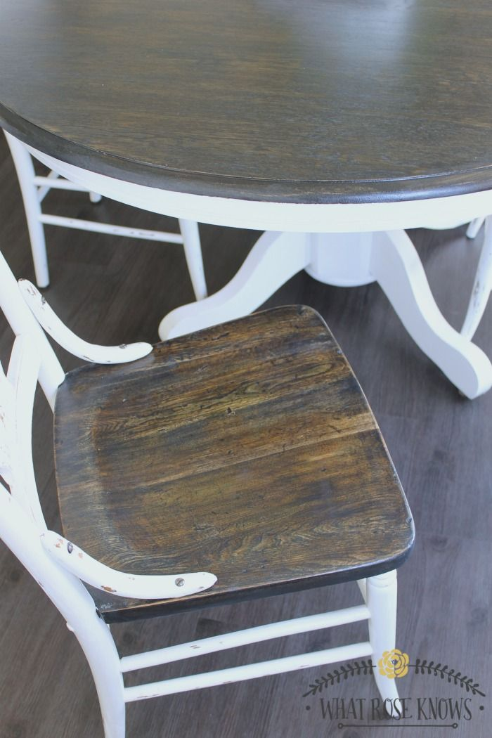 used kitchen tables rustic countertops farmhouse style painted table and chairs makeover all chalk paint was not