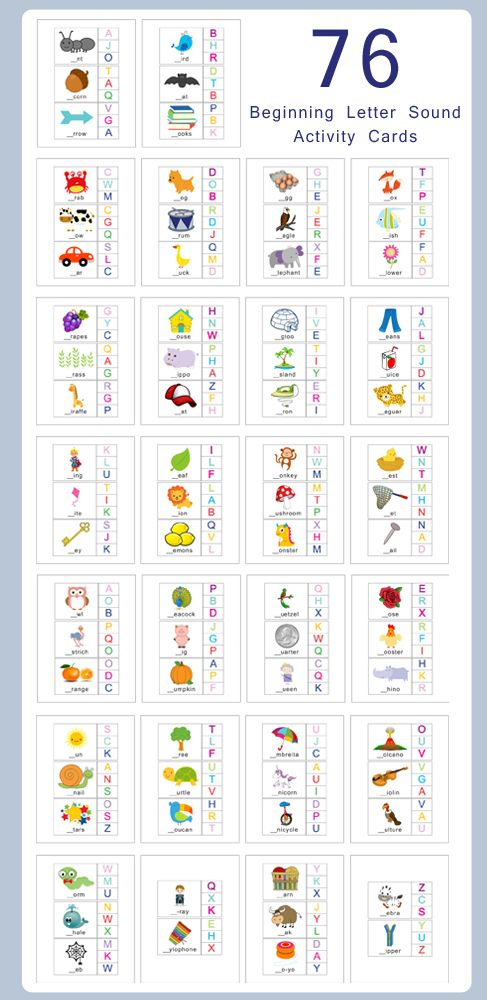 Beginning Letter Sounds Flashcards | Laute, Kind und Zeichen