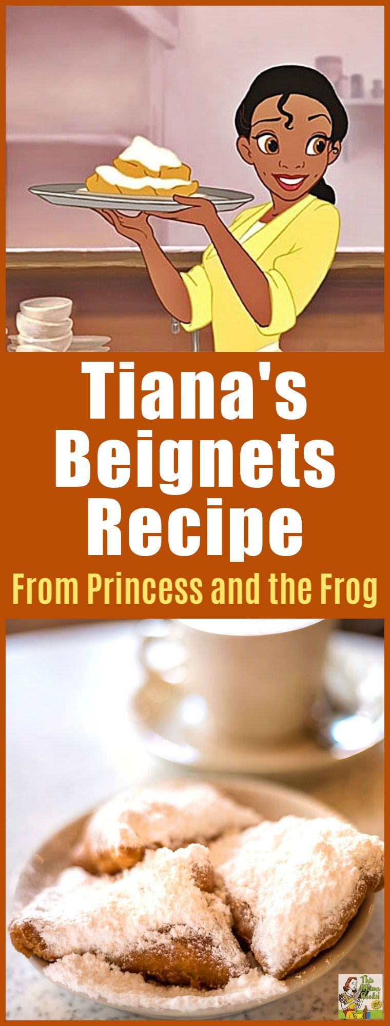 Want to make a New Orleans style beignet recipe for Mardi Gras brunch or breakfast? Try Tiana\'s Famous Beignets recipe from the Princess and the Frog movie and cookbook! #disneyprincess #disney #mardigras #mardigrasparty #baking #bakingrecipes #breakfast #desserts #kids #kidfriendly #recipes #recipe