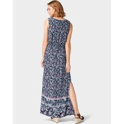 Tom Tailor Damen Gemustertes Maxi-Kleid, blau, gemustert, Gr.44 Tom TailorTom Tailor